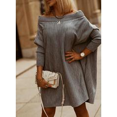 Pevný Decolteu Rotund Casual Svetrové šaty