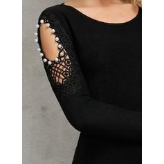 Solid Mâneci Lungi Manşon Deasupra Genunchiului Negre/Casual Elbiseler