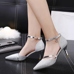 De mujer Brillo Chispeante Tacón stilettos Sandalias Salón con Material Block zapatos