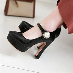 Women's Microfiber Leather Chunky Heel Pumps Platform With Button shoes