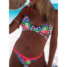 Low Waist Wave Cut Strap Sexy Colorful Bikinis Swimsuits
