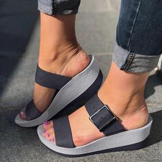 Donna PU Zeppe Sandalo Punta aperta Ciabatte con Fibbia scarpe