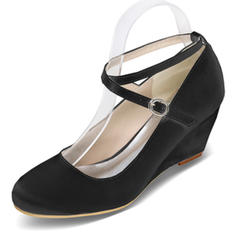Women's Satin Wedge Heel Closed Toe Pumps Wedges With Buckle