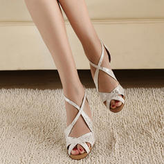 Women's Latin Heels Pumps Satin With Ankle Strap Latin