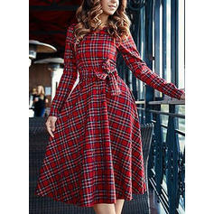 Plaid Long Sleeves A-line Midi Vintage/Christmas/Casual/Elegant Dresses