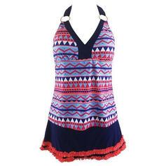 Print Halter Vintage Boho Swimdresses Swimsuits