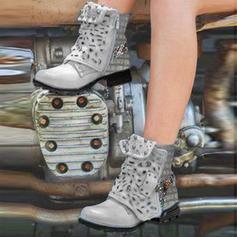 Donna PU Tacco basso Ballerine Stivali Stivali altezza media con Cava-out scarpe