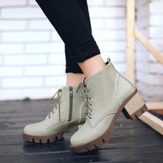 Kvinnor Konstläder Tjockt Häl Pumps Stövlar Boots med Zipper Bandage skor