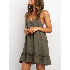 Solid Sleeveless Shift Above Knee Casual/Vacation Slip Dresses