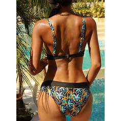 Bloemen Print Riem V-hals Sexy Vintage Bikini's Badpakken