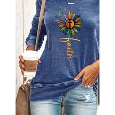 Nyomtatás Virágos Ábra Kerek nyak Hosszú ujjú Pulóver