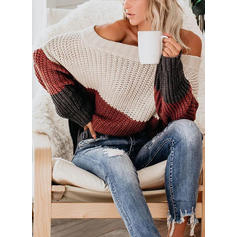 Color Block Ribbed Chunky knit One Shoulder Casual Sexy Sweaters