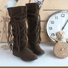 Women's PU Wedge Heel Closed Toe Wedges Boots Knee High Boots With Lace-up shoes