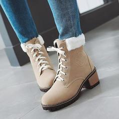 Femmes Suède Talon bottier Bout fermé Bottes Bottes mi-mollets Bottes neige Martin bottes avec Dentelle Fausse Fourrure chaussures