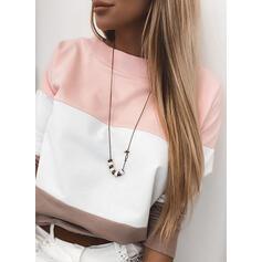 Color Block Round Neck Long Sleeves Sweatshirt