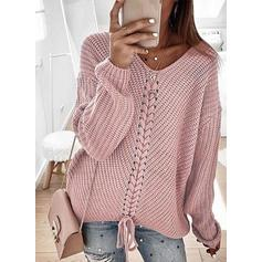 Solid Ribbed Chunky knit V-Neck Sweaters