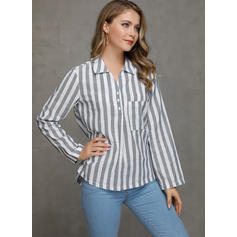 A righe Risvolto Maniche a 3/4 Bottone Casuale Shirt and Blouses