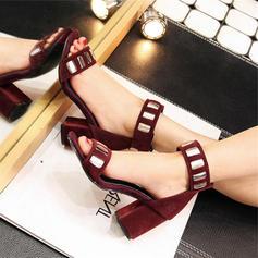 Women's Leatherette Chunky Heel Sandals Peep Toe With Rhinestone shoes