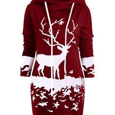 Állatminta Hosszú ujjú Zsák Térd feletti Karácsony/Hétköznapokra Bluza φορέματα
