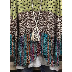 Leopard PolkaDot V-Neck Long Sleeves T-shirts
