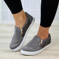 Frauen PU Flascher Absatz Flache Schuhe mit Reißverschluss Schuhe