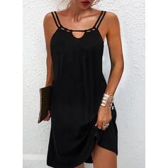Solid Sleeveless Shift Above Knee Little Black/Casual Slip Dresses