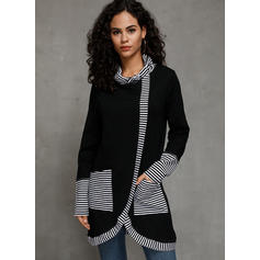 Striped High Neck Long Sleeves Casual Knit Blouses