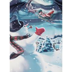 Encaje/Impresión Manga Corta Acampanado Hasta la Rodilla Vintage/Navidad/Casual/Fiesta/Elegante Vestidos