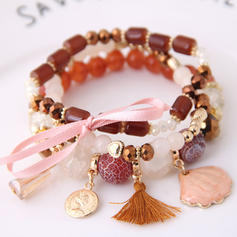 Beautiful Alloy Resin Women's Fashion Bracelets (Set of 3)