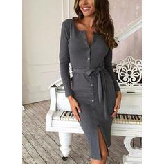 Solid Long Sleeves Sheath Knee Length Casual Dresses