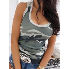 Print Round Neck Sleeveless Casual Sexy Knit Tank Tops
