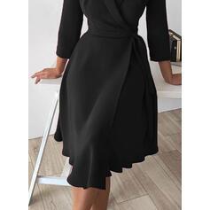 Solid 3/4 Sleeves A-line Knee Length Little Black/Elegant Wrap/Skater Dresses