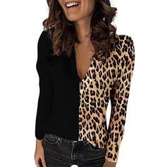 Renk Bloğu leopárd V yaka Uzun kollu Günlük Blúzok