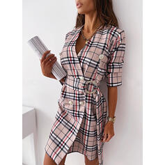 Plaid Long Sleeves Sheath Above Knee Casual Wrap Dresses