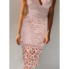 Lace/Print Sleeveless Bodycon Knee Length Sexy/Party Dresses