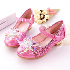 Girl's Leatherette Sparkling Glitter Low Heel Closed Toe Pumps With Rhinestone Sparkling Glitter Velcro
