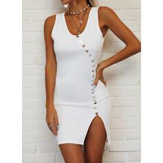 Solid Sleeveless Bodycon Above Knee Elegant Dresses