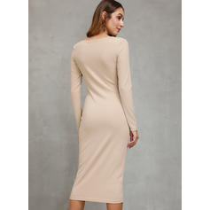 Solid Long Sleeves Bodycon Knee Length Casual Dresses