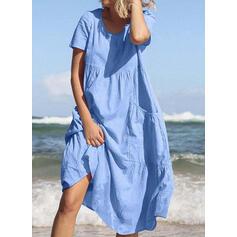 Solid Short Sleeves Shift Tunic Casual/Vacation Midi Dresses