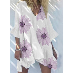 Print/Floral 3/4 Sleeves/Flare Sleeves Shift Above Knee Casual/Vacation Dresses