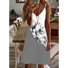 Estampado/Floral/Colorido Sem mangas Vestidos soltos Acima do Joelho Casual/férias Alça fina Vestidos