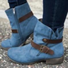 Donna PU Tacco spesso Martin boots con Fibbia Cerniera scarpe