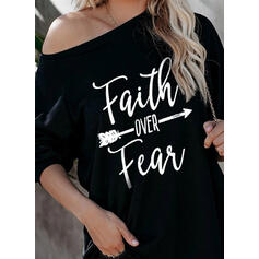 Figure Print One Shoulder Long Sleeves T-shirts