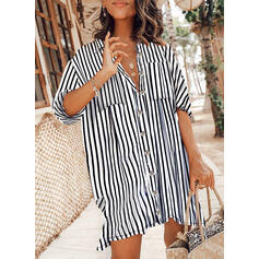 Striped 3/4 Sleeves Shift Above Knee Casual Shirt Dresses
