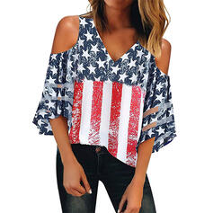 Print Striped Cold Shoulder 3/4 Sleeves Casual Blouses