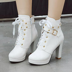 Women's PU Stiletto Heel Ankle Boots With Buckle Zipper Lace-up shoes