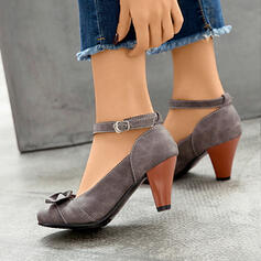 Women's PU Chunky Heel Pumps Pointed Toe With Bowknot Buckle shoes