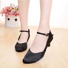 Women's Satin Heels Sandals Ballroom Character Shoes With Buckle Dance Shoes