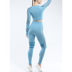 Girocollo Maniche lunghe A strisce Leggings sportivi T-shirt sportive
