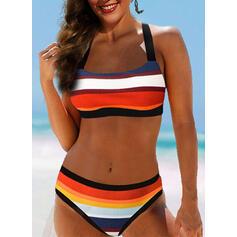 Risca Junção de cores Frente-única Sexy Elegante Biquínis Maiôs